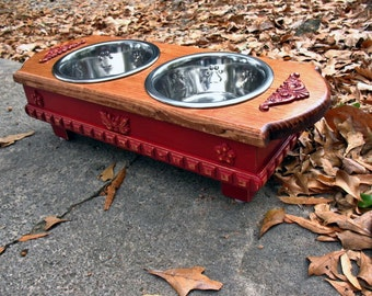 Elevated Pet Feeder, Small Dog, Solid Wood Raised, Walnut Stained, Cardinal Red Two stainless Stainless One Quart Bowls Made To Order
