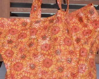 Sunflower Bag, Sunflowers Lined Cloth Market Tote with Inside Pocket - Choose Sunflower Print