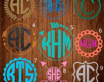 Glitter monogram decal,Aarow monogram decal, Name, Monogram sticker, circle monogram,yeti monogram decal, laptop decal, car decal