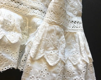 A very elaborate  Christening gown in cotton LIBERTY LAWN