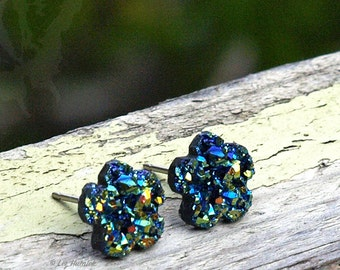 Faux Druzy Flower Earrings, Green Rainbow Resin Studs on Titanium, Stainless Steel or Sterling Silver Posts