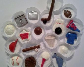 Chocolate Sports Cupcake Toppers football, hockey, basketball, bowling, baseball, golf and more