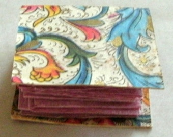 """Tiny 1"""" Accordion Booklet with Red Hearts in Pink Hand Made Paper"""