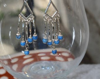 "3 1/2"" Denim Lapis Smooth Rounds and Sterling Silver Chandelier Earrings Womans Earrings Blue Chandelier Earrings Sterling Chandelier"