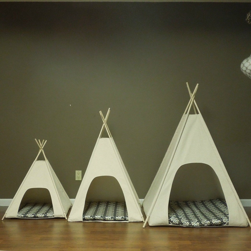 ?zoom & Large Dog Teepee Pet Tent 36 base Natural Canvas PICK