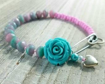 Pink & Teal Rose Beaded Bracelet