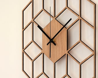 Cube Inspired Wooden Wall Clock, Silent Non Ticking Wood Clock, Minimalist Geometric Clock, Kitchen - Living Room - Bedroom Decor