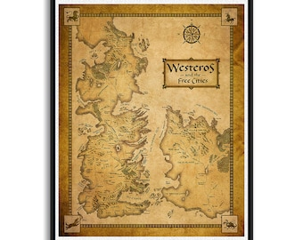 Game of Thrones Map, Westeros Map, Map Of Essos, Game Of Thrones print, Wall Art, Home Decor, Seven Kingdoms Map, Fantasy Maps, Ice And Fire