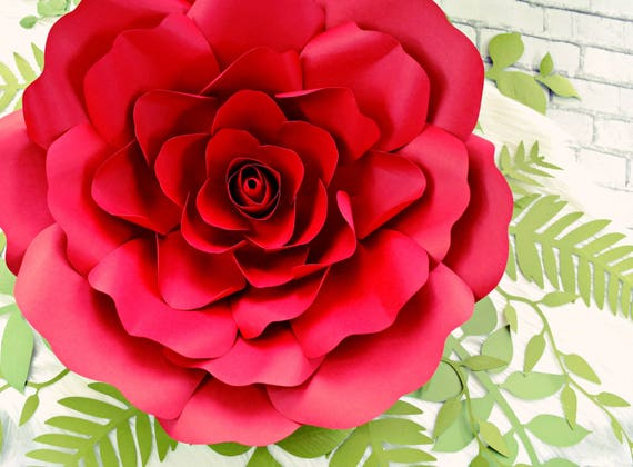 Giant paper rose flowers paper rose flower wall printable giant paper rose flowers paper rose flower wall printable rose templates diy paper flowers wedding backdrop reception decor mightylinksfo Image collections