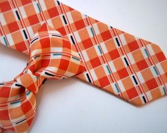 Orange Plaid Boy's Necktie-Orange Plaid Tie-Orange Pre-Tied Tie-Boy's Necktie