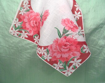 Pink and burgundy floral handkerchief / hankie / Multiples available