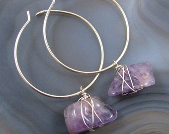 Amethyst Hoop Earrings - natural amethyst, purple, sterling silver, dangle, nugget, handmade, wire wrapped