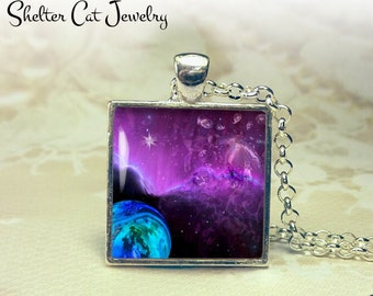 """Galaxy Nebula Necklace with Purple Haze - 1"""" Square Pendant or Key Ring - Handmade Wearable Photo Art Jewelry - Outer Space Jewelry - Gift"""