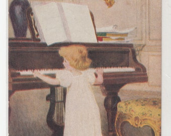 1910 Little Girl Standing Playing Piano In Very Opulent Surroundings