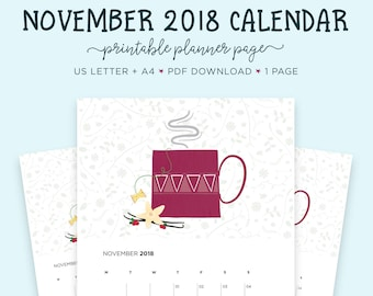 November 2018 Calendar, Tea Lovers, A4 Calendar, November Printable, Printable Calendar, Gift for Her, Letter Calendar, Month Wall Calendar