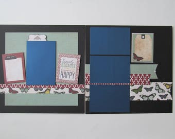 Smile Because You're Happy Premade,12x12 Scrapbook Layout,  Scrapbook Page Kit, Project Life, Filofax