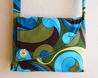 Fabric Purse handmade Shoulder Bag made from recycled materials with cross the body strap by Cant Have Enough