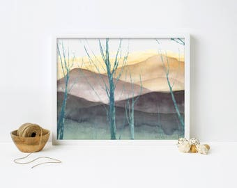 Misty Mountains- Art Print- Wall Art- Mountain Poster- Mountain Art- Mountain Watercolor- Mountains- Nature Poster- Home Wall Decor- Gift
