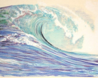 one off, original drawing of a wave on the ocean, in charcoal and pastel on calico