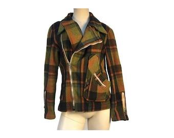 1970s wool PLAID zipped PERFECTO style JACKET // size eu 38-uk10-us 6