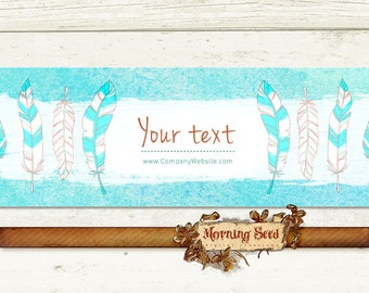 Soap packaging - Feather labels - Printable soap label templates 2 x 11 in - Editable design, Boho label