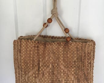 Vintage Woven Bag with Rope and Wooden Beaded handle Detailing