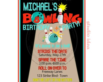 Personalised Bowling  Party Printable Invitation- Personalized Strike Birthday Invitation- DIY Digital File
