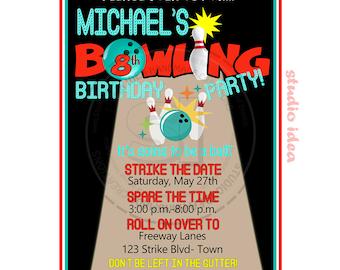 Personalised Bowling  Party Printable Invitation- Personalized Strike Birthday Invitation- DIY Digital File