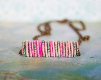 Pink/Green Yarn Bead Necklace