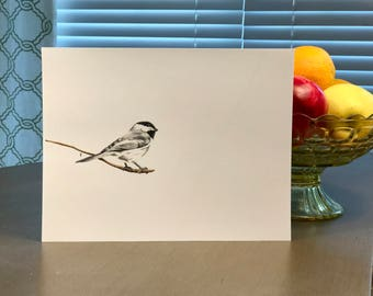 Bird Print, Wall Print, Colored Pencil Drawing, 8.5x11inches, Black and White: Carolina Chickadee