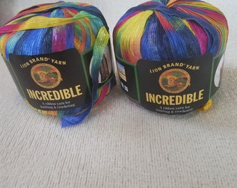 Lion Brand Yarns Rainbow Trellis Ribbon Yarn
