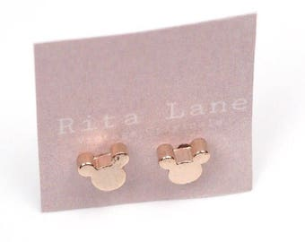 Disney Inspired Mickey Mouse Silhouette Rose Gold Plated Stud Earrings