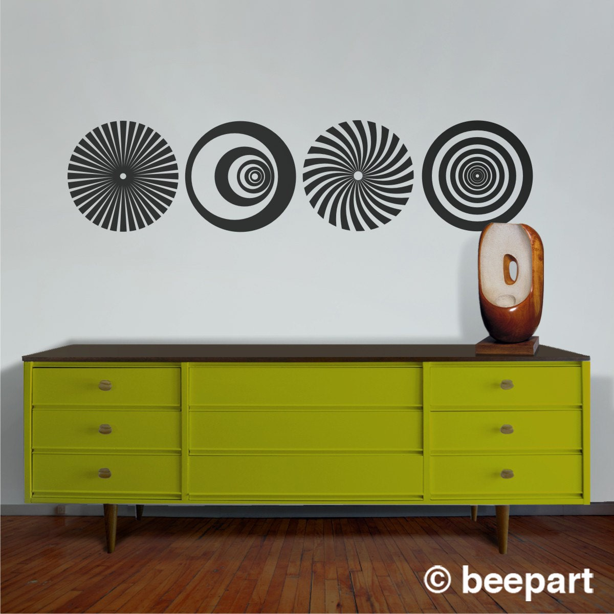 Op Art Vinyl Wall Decal Set, Optical Art Sticker, Geometric Wall Art, FREE  SHIPPING