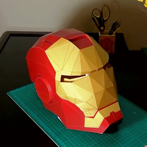 Low Poly DIY Iron Man Mask Paper Model Create Your Own 3D