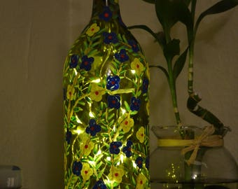 Blue and Yellow Flowers - Spring Collection Bottle Art