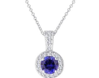 Blue Sapphire And Diamonds Pendant Necklace 14K White Gold 1.23 Carat Halo Pave Handmade