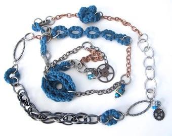 "Fiberpunk™ Necklace - Steel Blue - Extra Long 26"" / Fiber Jewelry / Crochet Jewelry / Tatted Jewelry"