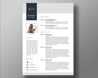 Sammie Resume and Cover letter template | Professional Microsoft Word Resume | CV template | Resume Design
