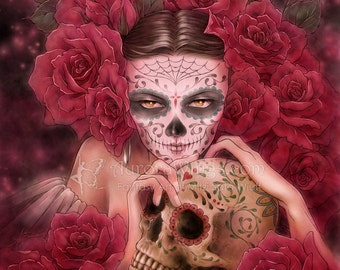Day of the Dead Skull Catrina Fantasy Art - Las Calaveras - Free Shipping to US - Red Roses - 5x7 Signed Print - by Mitzi Sato-Wiuff
