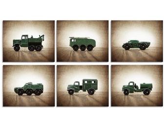 Military Wall Art, Vintage Military Vehicles Set of 6 Photo Prints,  Wall Art,  Kids Room decor, Green Trucks prints,