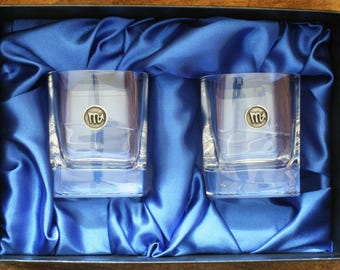 Scorpio Whisky Tumblers Zodiac Sign Pair Of Crystal Glasses Boxed Ideal Birth Sign Gift