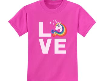 I Love Unicorns - Magical Gift Children Rainbow Unicorn Youth Kids T-Shirt