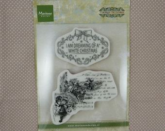 Clear, vintage, White Christmas stamp