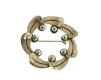 Mexican Sterling Modernist Brooch