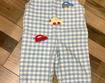Cars baby gift, vintage baby clothes, blue plaid onesie, baby boy outfit, baby boy gifts, baby clothes, vintage baby, Cars theme, cars baby