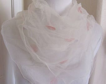 White with Dot Sheer Nylon Scarf Square - Affordable Scarves!!! Why Pay More! (10E)
