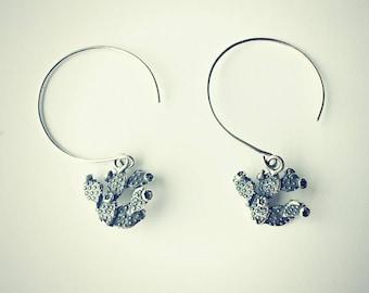 cactus earrings sterling silver, succulent earrings, cactus jewelry, desert earrings, cactus accessory, silver flowering cactus earrings