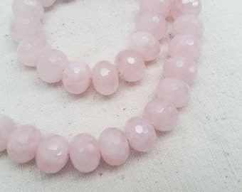 Natural Rose Quartz Faceted Semi-Rondelle Beads