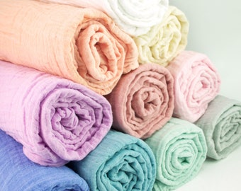 """New colors added! Muslin Baby Swaddle Blankets in solid colors - made from 100% cotton double gauze fabric - approximately 45"""" square"""