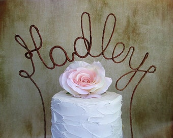 LAST NAME Wedding Cake Topper Banner - Personalized Name Rustic Wedding Cake Topper, Custom Shabby Chic Monogram Wedding Cake Decoration